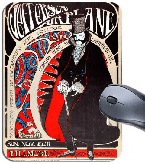 Jefferson Airplane Fillmore Poster Mouse Mat Edwardian Ball San Fran Mouse Pad